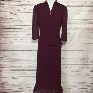 Address Maggy Burgundy Crinkled Chiffon Skirt Suit